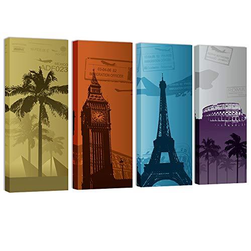 Visual Art Decor Retro Canvas Wall Art Travel Around The World Map Canvas Prints London Paris Eiffel Tower Rome Egypt Landsape Picture Canvas Prints Home Decor (Classical)