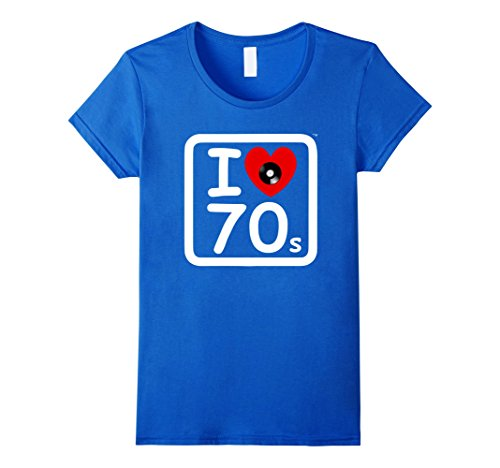70s Themed Clothing (Womens 70's Theme T Shirt I Love the Seventies with Retro Vinyl Large Royal Blue)