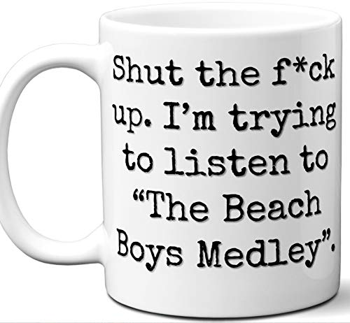 The Beach Boys Medley Song Gift Mug. Funny Parody Lover Fan