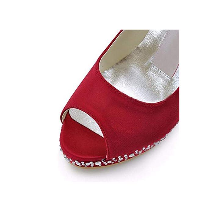 Qiusa Ladies Peep Toe Crystal Stiletto Tacco Alto Sandali Da Sposa In Raso Rosso Uk 5 5 colore - Dimensione -