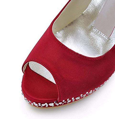 Tacco Tacco Alto Sposa 8 Tacco da Peep da da da Ladies Sandali Toe in UK Dimensione Cristalli ZHRUI Colore Rosso a Raso Sposa Spillo Uyn0vcUF1
