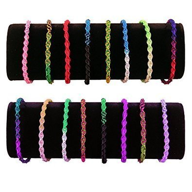 10k Pattern Bracelet - Assorted Colors Pack of 10 Twisted Thick Bracelet Pattern Adjustable One Size From Peru