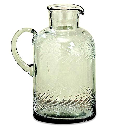 WHW Whole House Worlds Heritage Summertime Pitcher, Rustic Clear Glass, Made by Hand, Etched Double Leaf Garland Pattern, 64 Fluid Ounces (2 Quarts) 5 1/2 Diameter x 9 Inches Tall