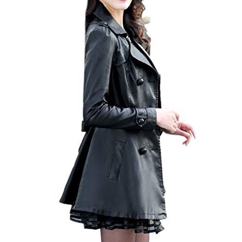 Encaje Dobladillo Negro Manga Cinturón La Cuero Doble Botonadura Larga De Para Mujer Chaqueta Honghu Gabardina Imitación qwPvSv