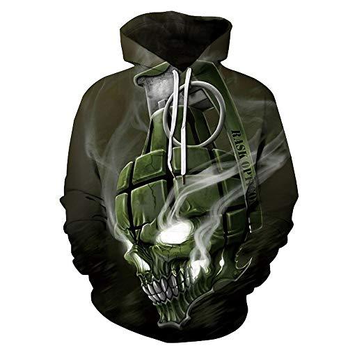Halloween Gift Mens Sweatshirt,Realdo Fashion Casual Autumn Winter 3D Print Comfy Caps Skin Hoodie Tops Blouse