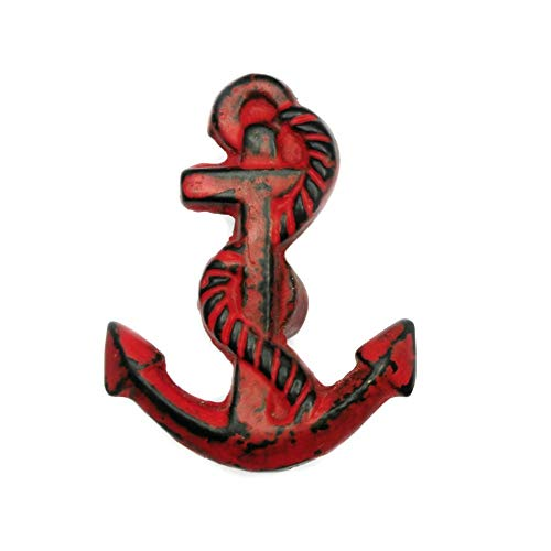 (Set of 4 Cast Iron Anchor Cabinet Knob in Distressed Red Finish)