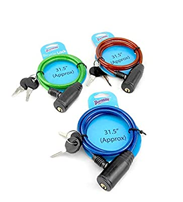 Dependable Products 3 Pack Steel Cable Bicycle Lock with 2 Keys Anti Theft Device