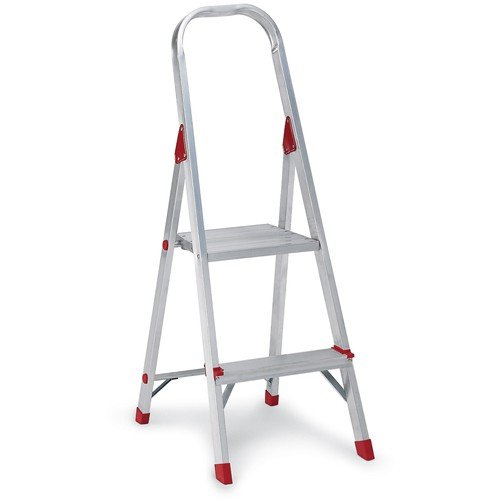 Louisvilleamp;reg; - #566 Three Foot Folding Aluminum Euro Platform Ladder, Red - Sold As 1 Each - Locking platform provides large standing area.