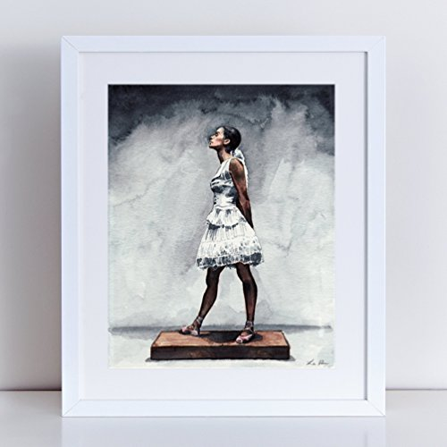 [Misty Copeland as the Little Dancer Giclee Print of Watercolor Painting 8 x 10, 11 x 14 inches Fine Art Poster Swan Lake Ballet Ballerina] (Classical Ballet Costume History)
