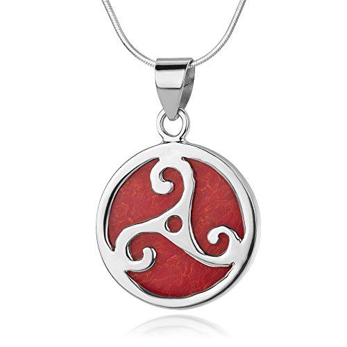 Sterling Silver Triple Spiral Triskele Triskelion Celtic Red Sea Bamboo Coral Pendant Necklace 18