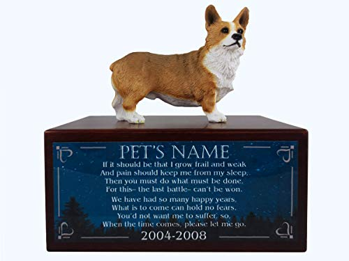 Conversation Concepts Beautiful Paulownia Small Wooden Urn with Pembroke Welsh Corgi Figurine & Personalized Poem The Last Battle ()