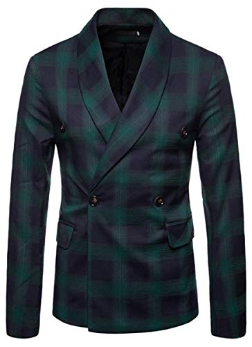 - Men's Slim Fit Suits Double Breasted Two Button Casual Plaid Blazer Jacket Coat Outerwear, Green, US Medium/40 = Tag XL