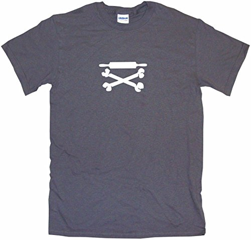 Rolling Pin Pirate Skull Cross Bones Logo Men's Tee Shirt Medium-Charcoal