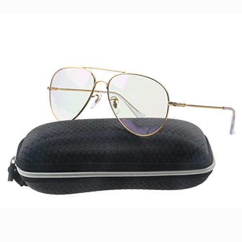 239ab656481 Simvey Classic Retro Oversized Aviator Glasses Clear Lens Memory Metal Frame  UV400 - Buy Online in UAE.