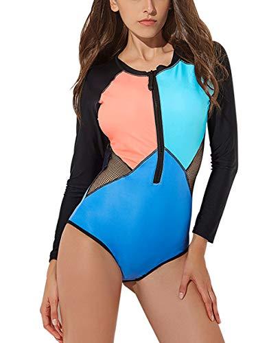 Rashguard Surfing Suit FEOYA Womens Printed Swimwear One Piece Swimsuit UPF 50