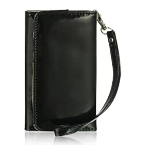 Quaroth Dream Wireless Universal Wallet Pouch for 4 to 5-Inch Wide Phones - Retail Packaging - Black Patent Leather