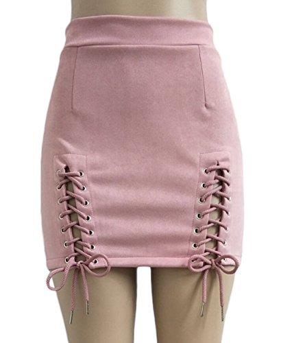 Femmes Fashion Pretty Bandage Mini Jupe avec Fendues Sexy Moulante Package Hanche Jupes de Fte Cocktail Soire Rose