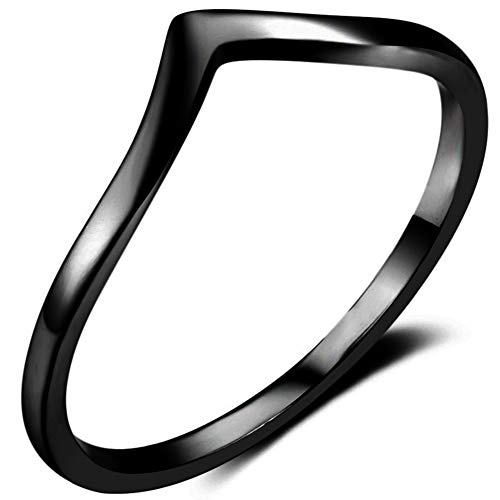 Jude Jewelers Stainless Steel Pointed Chevron Classical Simple Plain Statement Promise Ring (Black, 7)