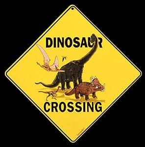 "Amazon.com : Dinosaur Crossing 12"" X 12"" Aluminum Sign"