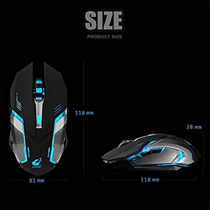 MeterMall LED Wireless Optical Gaming Mouse Rechargeable X7 High Resolution Mouse Black