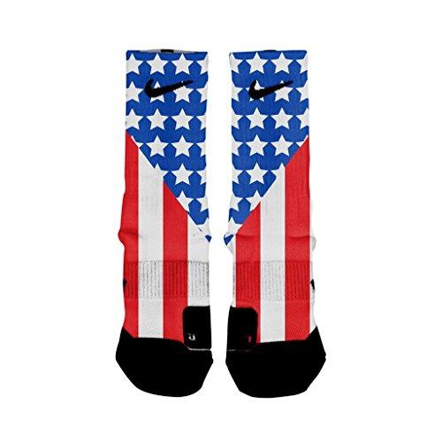HoopSwagg Old Glory Custom Elite Socks Medium