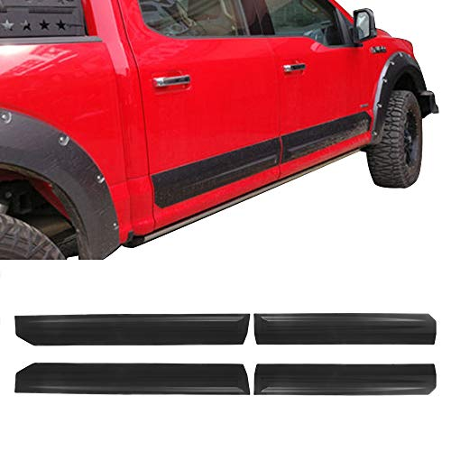 Side Body Molding Cladding Fits 15-19 Ford F150 | Black ABS Rocker Panel Trim by IKON MOTORSPORTS