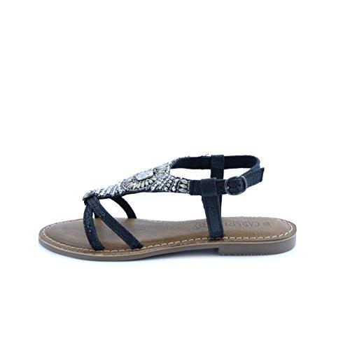 XTI Black Metallic Ladies Sandals . - Sandalias con cuña Mujer Schwarz (Black)