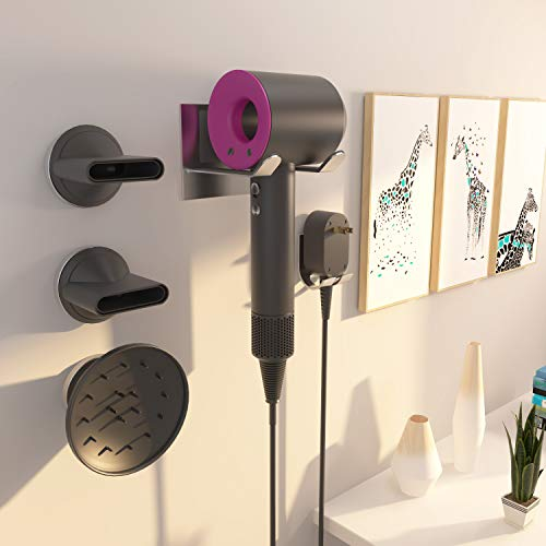 XIGOO Hair Dryer Holder, Self Adhesive Dyson Hair Dryer Wall Mount Holder Compatible Dyson Supersonic Hair Dryer, Brushed, 304 Stainless Steel, Power Plug, Diffuser and Nozzles Organizer by XIGOO (Image #2)