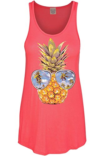 COLORBEAR Women's Pineapple W/Sunglasses Graphic Scoop Neck Tank TOP ()