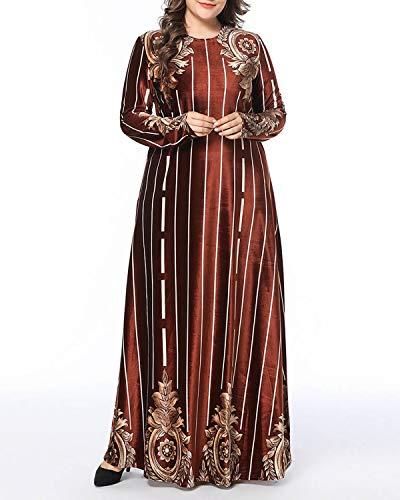 Manga color Size Elegante Rojo Vino Xl Para Maxi Estampado Mujer Rayas Red Wine Vestido A De Larga Red Yajiemei YqaOa