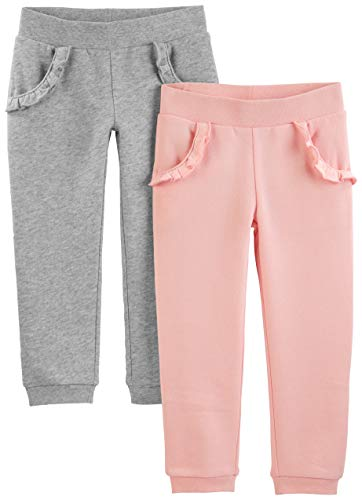 Simple Joys by Carter's Girls' Toddler 2-Pack Pull on Fleece Pants, Gray/Pink 5T