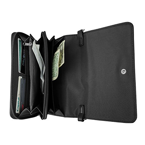 Mundi RFID Crossbody Bag For Women Anti Theft Travel Purse Handbag Wallet Vegan Leather (Black)