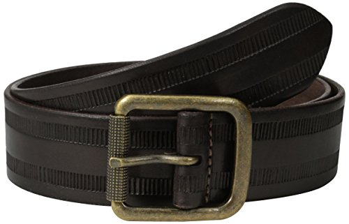 John Varvatos Men's Leather Belt with Harness Buckle, Chocolate, 40