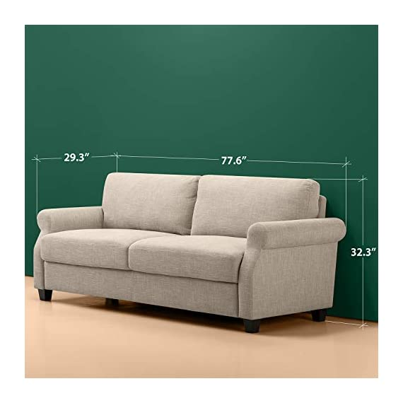 Zinus Josh, Sofa, Beige - Easily assembles with a friend, no tools needed, in under 20 minutes Stress free fabrics were chosen to be durable and easy to clean 77.5 inches long with traditional Styling - sofas-couches, living-room-furniture, living-room - 41KMY1UkvvL. SS570  -