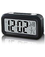 Digital väckarklocka smart sensor ljus väckarklocka med snooze datum temperatur - enkel drift batteridriven trådlös digital klocka
