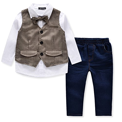 FERENYI Children's Clothes Sets Kids Boys Clothing Long Sleeve Shirt&Vest&Tie&Jeans 4PS Suit (3T, Grey)