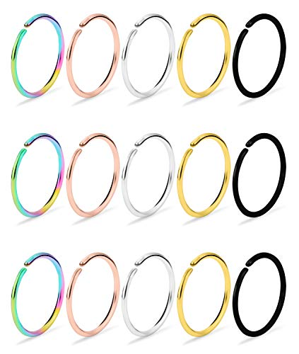 Dyknasz Horseshoe Circular Barbell Clear CZ Opal Stone Nose Septum Rings Hoop Retainer for Women Men Helix Cartilage Tragus Earring 316L Surgical Steel 16G 5//16 8mm 3//8 10mm