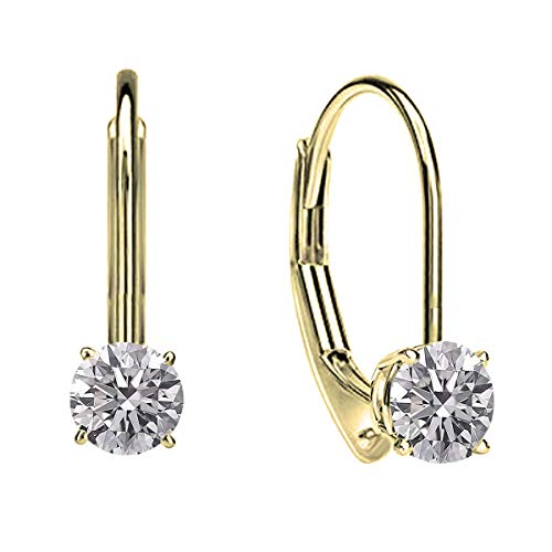 Dazzlingrock Collection 0.25 Carat (ctw) 18K Round Lab Grown White Diamond Ladies Dangling Drop Earrings 1/4 CT, Yellow Gold