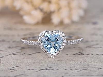 6mm Heart Shaped Cut Light Blue Aquamarine Solid 14k White Gold Engagement Ring Diamond 3 Ball Prong Halo Promise Art Deco Pave Set Bridal Wedding Band