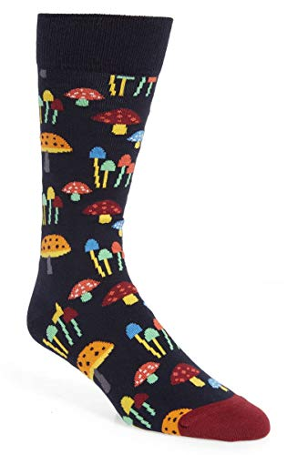 (Happy Socks Unisex Mushroom Crew Socks (One Pair) (Multi, 10-13))