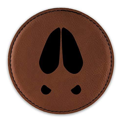Deer Track Drink Coaster Leatherette Round Coasters walking hunting print - Rawhide - Set of Six Round ()