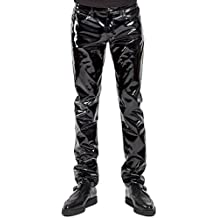 Tripp Gothic Punk Rocker Moto Biker Rave Black PCV Vinyl Wet Look Jeans Pants
