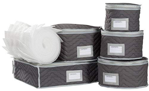 China Tea Cups and Plates Storage Set - Deluxe Quilted Microfiber - Grey, with Braidz Foam Padding