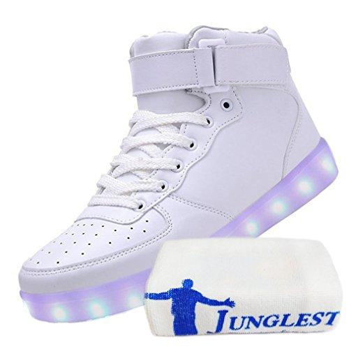 (Present:kleines Handtuch)JUNGLEST Unisex High Top 7 Farben Blitzen Damen Turnschuhe Hohe LED Licht Fa Weiß