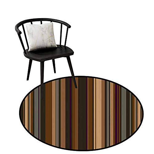 Warm Round Rug Abstract Decor for The Kitchen Retro Vertical Striped Background in Different Shades of Earthen Tones Image Tan Brown D47(120cm)