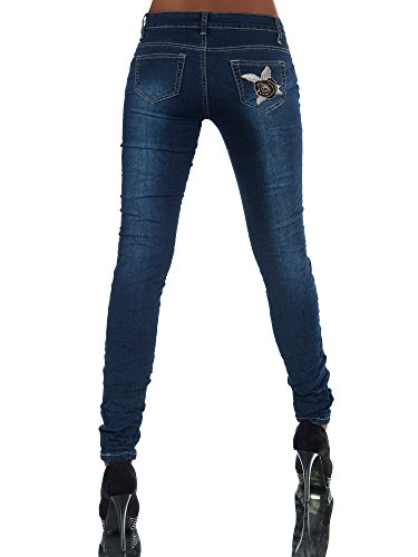 FASHION BOUTIK jeans bleu avec fleurs brodées femme sexy taille 34 36 38 40 42 (w34)