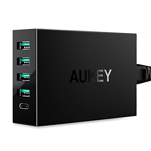 AUKEY Amp USB Charger with USB C Port & 4 USB Ports for Samsung S7, LG G5, HTC 10, Nexus 6P/5X, Pixel/XL, iPhone 7/Plus & More