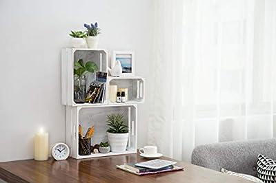 MyGift Set of 3 Vintage White Wood Nesting Storage Crates