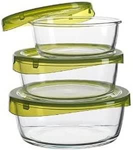 لومينارك KEEP N BOX طقم علب زجاج دائري 3 قطعه لحفظ الطعام غطاء أخضر