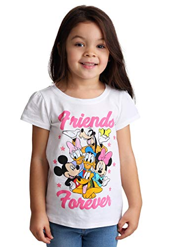 Disney Toddler Girls' Mickey and Friends Short Sleeve Puff Tee, White, 4T